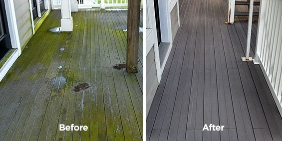 Power washing service performed in Lake Isabella Michigan. Deck was in extreme need of cleaning before we arrived. As you already know Trex composite decks have to be cleaned properly or you can cause severe scaring needing to be replaced.