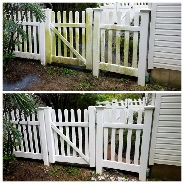 Vinyl fence power washing service performed in Midland Michigan