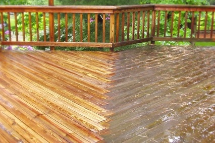 Wood deck power washing services in Michigan